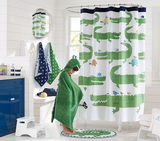 Alligator shower curtain pottery barn kids for Kids shower curtain sets