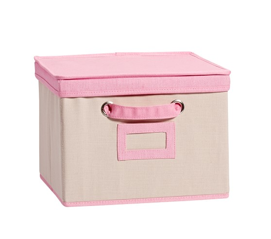 Light Pink Contrast Border Canvas Storage Pottery Barn Kids