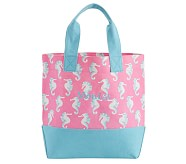 Allover Print Tote- Pink Seahorse