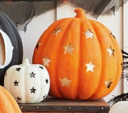 Jumbo Orange Pumpkin with Stars Luminary
