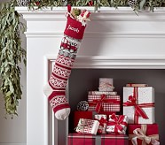 Natural Fair Isle Stocking - Firetruck