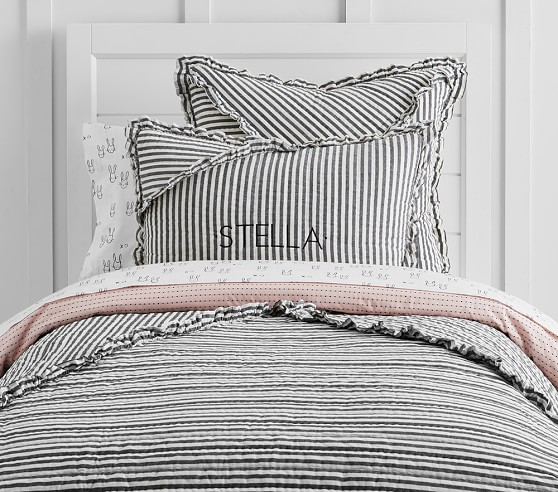 The Emily Amp Meritt Ruffle Stripe Quilted Bedding Pottery