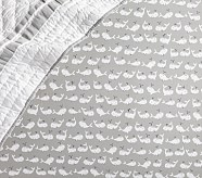 Organic Preppy Whale Crib Fitted Sheet, Gray