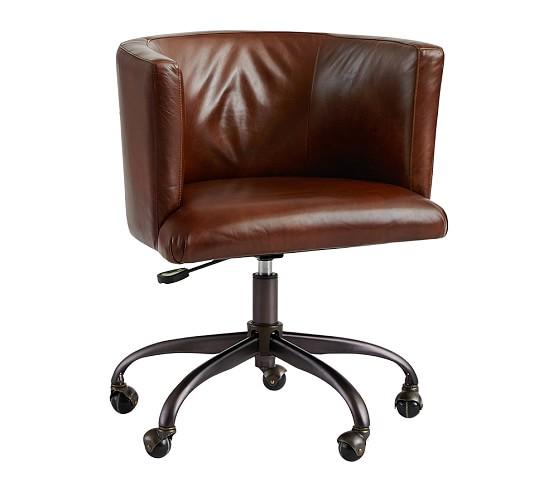 Monique Lhuillier Leather Club Task Chair, Cognac Leather
