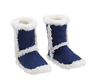 Suede Sherpa Slippers, Small, Navy