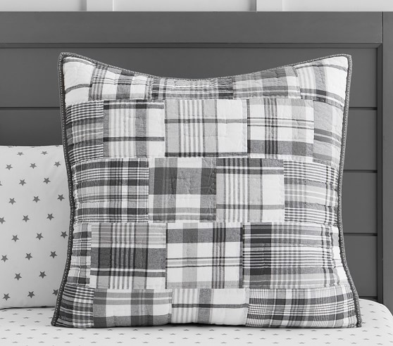Madras Quilted Bedding Gray Pottery Barn Kids