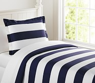 Rugby Stripe Duvet Cover, Twin, Navy