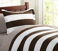 Rugby Stripe Duvet Cover, Twin, Chocolate