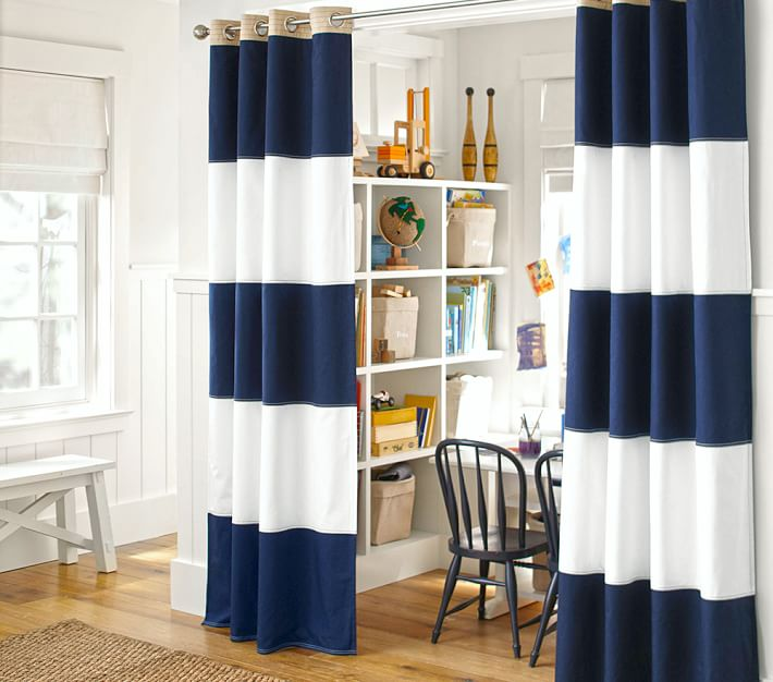 Blackout Curtains boys blue blackout curtains : Rugby Blackout Panel | Pottery Barn Kids