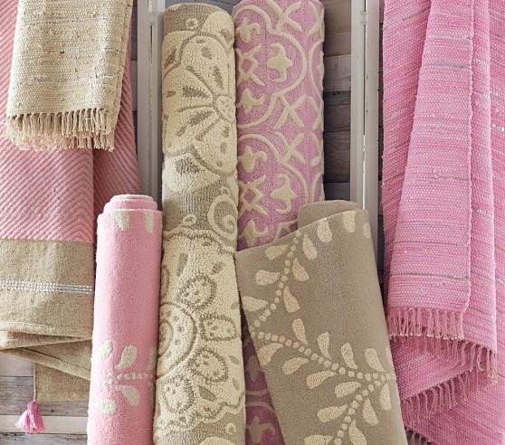 Remy Metallic Dhurrie Rug- Pink