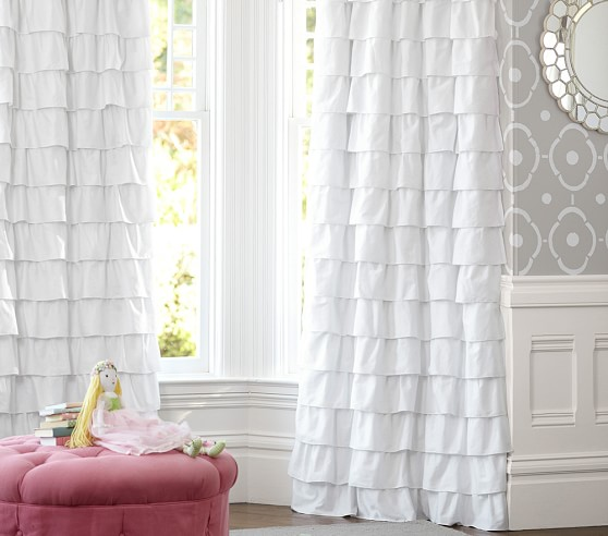 White Curtains black out white curtains : Ruffle Blackout Panel | Pottery Barn Kids