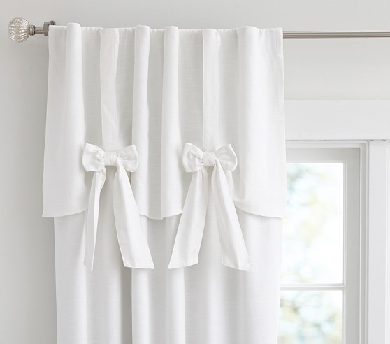 White Curtains black out white curtains : Evelyn Linen Blend Bow Valance Blackout Panel | Pottery Barn Kids
