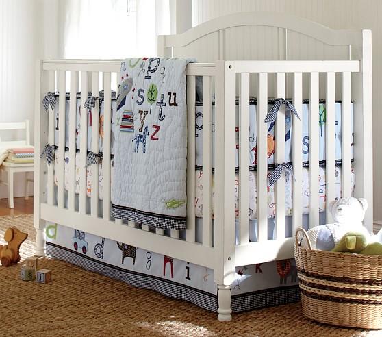 ABC Boy Nursery Quilt Bedding Set, Toddler Quilt, Crib Skirt & Crib Fitted Sheet