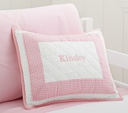 Gingham Small Quilted Sham, Light Pink