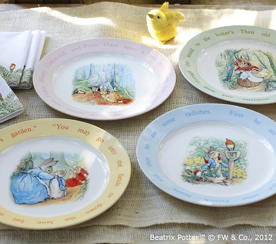 Peter Rabbit Melamine Plate Set Set Of 4 Pottery Barn Kids