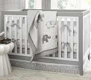 Gray Elephant Nursery Quilt Bedding Set, Toddler Quilt, Crib Skirt & Crib Fitted Sheet
