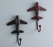 Rustic Metal Plane Hooks, Oil-Rubbed Bronze