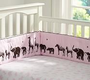 Animal Parade Crib Fitted Sheet, Pink
