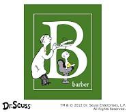 Dr. Seuss™ Alphabet Prints, Letter B, Green, Barber