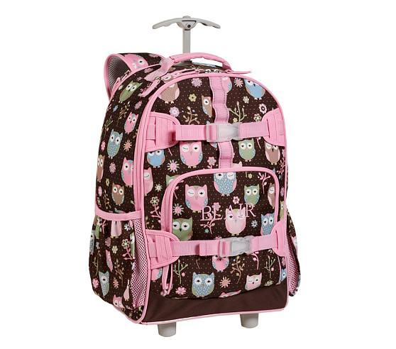 Mackenzie Chocolate Owl Rolling Backpack