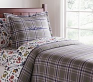 Plaid Flannel Duvet Cover, Twin, Green
