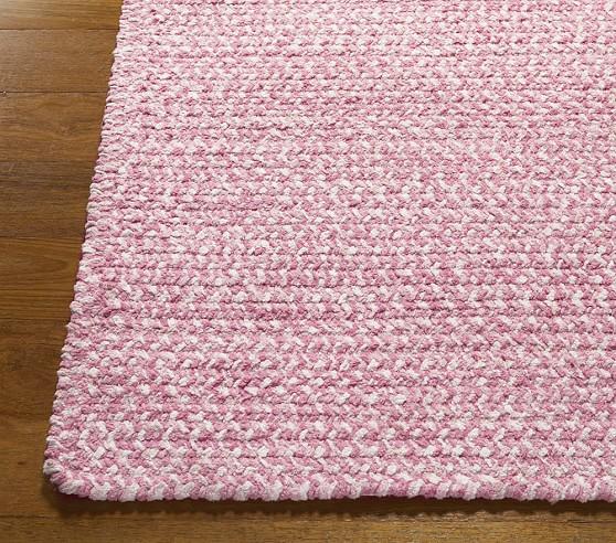 Pink Evan Chenille Braided Rug Swatch