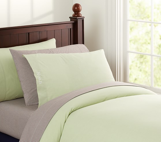 Chambray Duvet Cover, Twin, Green
