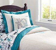Bright Border Linen Duvet Cover, Twin, Teal