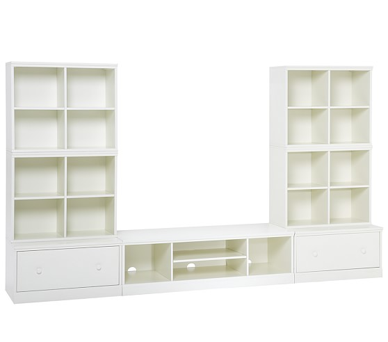 Cameron Extra-Wide Media System Set, Base with drawer, White