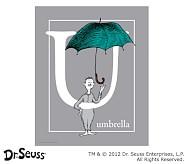 Dr. Seuss™ Alphabet Prints, Letter U, Grey, Umbrella