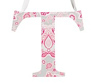 Printed Letter, T, Bright Pink Design