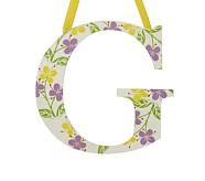 Printed Letter, G, Lavender Hibiscus