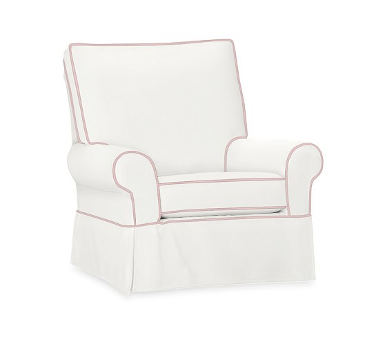 Comfort Grand Slipcovered Swivel Glider, white twill with light pink piping