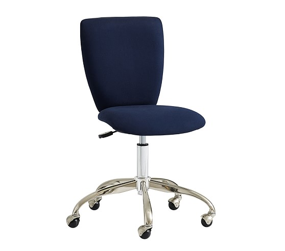 Upholstered Square Task Chair, Navy Twill