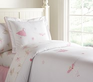 Brigette Embroidered Duvet Cover, Twin, Pink