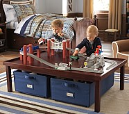 Table & 2 Canvas Carts Set, Sun Valley Espresso with Navy Canvas Carts