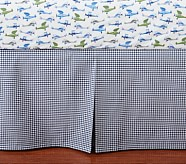 Peyton Navy Gingham Crib Skirt