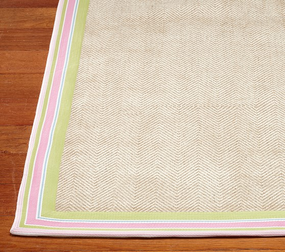 Chenille Jute Stripe Border Rug (Pink) 3x5'