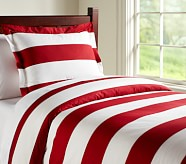 Rugby Stripe Duvet Cover, Twin, Red