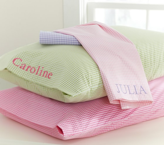 Gingham Standard Pillowcase, Pink