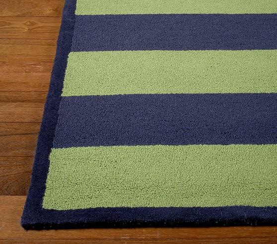 Green/Navy Rugby Stripe Rug Swatch