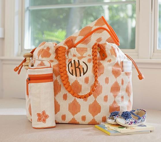 Orange Ikat Larkspur Diaper Bag