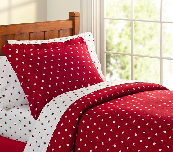 Organic Star Duvet Cover, Twin, Red
