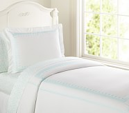Embroidered Duvet Cover, Twin, Aqua