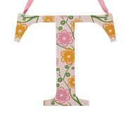 Printed Letter, T, Orange Floral