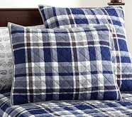 Charlie Plaid Standard Quilted Sham, Navy
