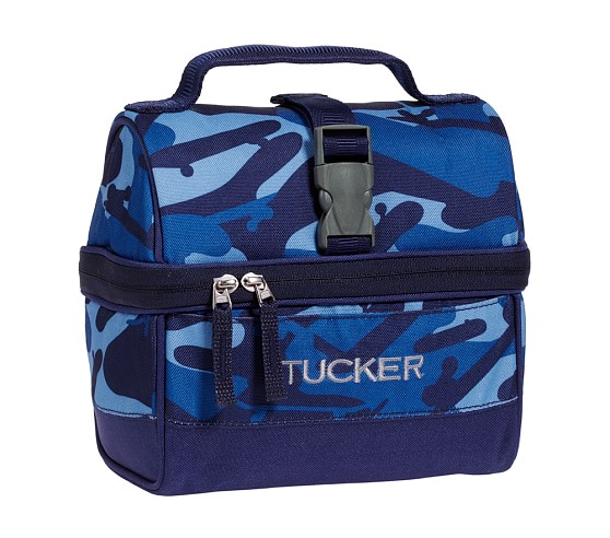 Mackenzie Blue Camo Retro Lunch Bag