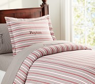 Lakehouse Stripe Duvet Cover, Twin, Red