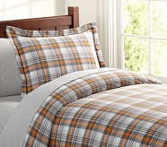 Kingston Duvet Cover, Twin, Orange/Gray