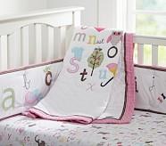 ABC Girl Nursery Quilt Bedding Set, Toddler Quilt, Crib Skirt & Crib Fitted Sheet